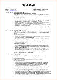 Cv Profile Examples Free Profile Examples Personal Resume For