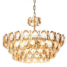 1960 s palwa eight light gold plated brass and crystal chandelier for