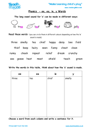 Worksheet will open in a new window. Phonics Ee Ea Ie Y Words Teach My Kids