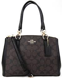 COACH Signature Mini Christie Carryall Handbag Crossbody (Brown Black)