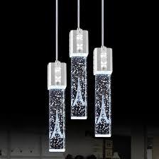 triple crystal bubble shade led ceiling pendant light fixture