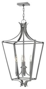 hinkley lighting 4494 fleming 4 light cage chandelier polished antique nickel