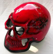 motorcycle helmet skeleton death red skull rider ghost metallic