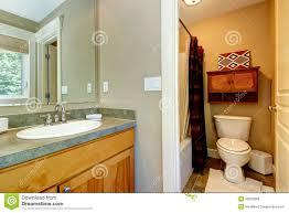 Disegno Bagno In Camera : Bagno con la vasca piccola doccia ed i gabinetti di legno