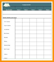 Camping Checklist Excel Blank Template South List Grocery