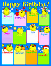 Birthday Chart Smiley Face Birthday Chart Id 3049
