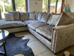 dfs silver grey crushed velvet corner