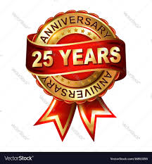 Anniversary Ribbon 25 Years Anniversary Golden Label With Ribbon Vector Image