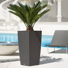 Modern Outdoor Planters Twista Tall Inch Pots Ideas On Concrete Flooring  And Lounge Chair Swimming Pool