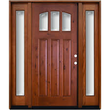 craftsman double front doors. Craftsman 3 Lite Arch Stained Knotty Alder Wood Prehung Front Door With Sidelites-K4151-6011-12-6LH - The Home Depot Double Doors D