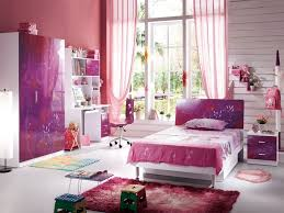 Kids Bedroom:Cute Pink Purple Kids Bedroom With Simple Table Lamp And Dark  Brown Dresser
