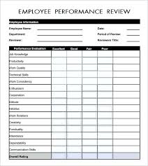 Employee Performance Evaluation Template Employee Evaluation
