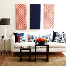 fabric on walls ideas patterned navy blue and red fabric panel wall art hanging fabric on fabric on walls ideas
