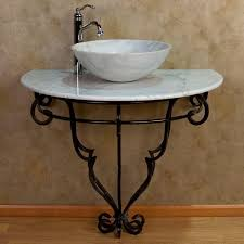 wallmount wrought iron console vanity for vessel sink  marble