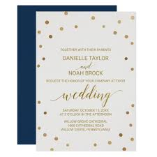 Polka Dot Invitations Gold Polka Dots Wedding Invitation