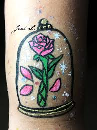beauty and the beast rose face painting arm painting