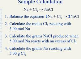 solved sample calculation na cl2