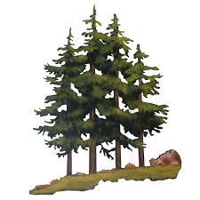 pine trees hand painted metal wall art