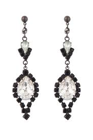 black and crystal chandelier earrings by tom binns for 30 the runway