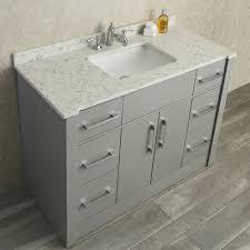 ariel by seacliff radcliff 48 taupe grey single sink bathroom vanity set with carrera quartz countertop