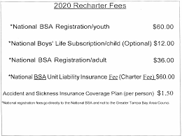 Bsa Registration Fee Chart 2019 2020 Recharter Fee Chart 5317 Greater Tampa Bay Area Council