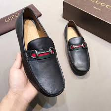 gucci leather driver with web black 450892