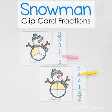 Snowman Clip Card Fractions - Fun with Mama