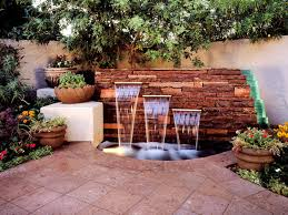outdoor garden wall water fountains with best lighting