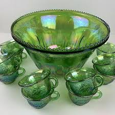 indiana glass princess green carnival glass punch bowl set 11 cups iridescent 79 99