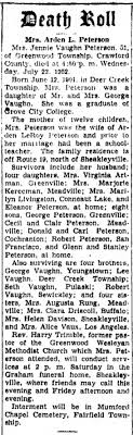 Jennie Vaughn Peterson Obituary Jul 1952 - Newspapers.com