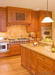 Wood Stove Backsplash Cool Countertop And Backsplash Idea Traditional Light Wood Kitchen
