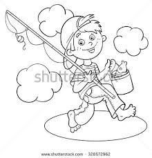 Small Picture Coloring Page Outline Cartoon Boy Fisherman Stock Vector 328572962