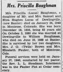 Baughman Priscilla Death The Brookville American Brookville PA 8 Feb 1940 p  10 c 4 - Newspapers.com