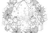 Christmas Wreath Coloring Pages For Adults Printable Coloring Page
