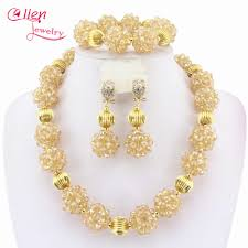 Crystal Beads Necklace Designs In Gold Us 21 1 50 Off Indian African Beads Jewelry Set Crystal Beaded Ball Necklace Set Nigerian Wedding Bridal Beads Jewelry Set W6393 In Jewelry Sets