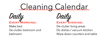 Daily Cleaning Calendar Rome Fontanacountryinn Com