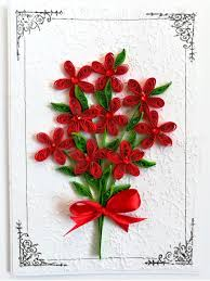 Paper Quilling Flower Bokeh Red Quilled Flowers Bouquet Greeting Card