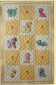 Authentic 1920s Embroidered Baby Crib QUILT Vintage CAT & DOG 32 x ... & Authentic 1920s Embroidered Baby Crib QUILT Vintage CAT & DOG 32 x 37