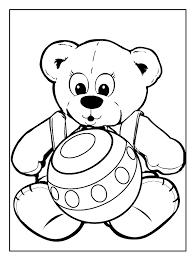 Kleurplaat Teddybeer Speelt Met Bal Kleurplaatjecom