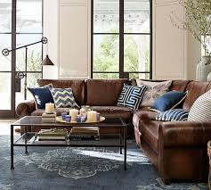 leather couches living room. L-shaped Brown Leather Sofa Looks Great And Refreshed With Navy Blue Pillows Couches Living Room