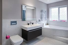 Superior Inspiration For A Contemporary Bathroom In West Midlands With An Integrated  Sink, Flat Panel