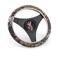 browning universal pink camo steering wheel cover