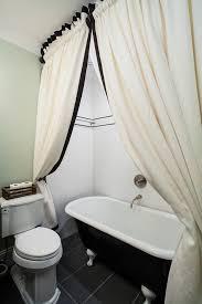 burlap shower curtain bathroom craftsman with freestanding bathtub white subway tile wall freestanding bathtub