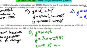 unit 10 lesson 7 no example 4 linear quadratic and exponential word problems you