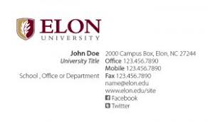 Buiness Cards Elon University Business Cards