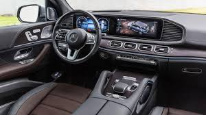 In base gle 350 form, this midsize mercedes suv feels perfectly comfortable and composed, aided by a serene and spacious cabin with two large digital screens playing a starring role. The Interior Of The 2019 Mercedes Benz Gle 450 4matic With Rough Leather In Espresso Brown Magma Grey And Mercedes Benz Gle Mercedes Gle Suv Mercedes Benz Suv