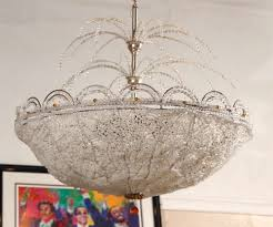 art deco lalique style crystal basket chandelier the fine crystal dome basket having a lalique
