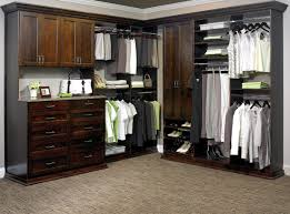 rich cocoa laminate closet system with lowland solid wood drawer and door fronts