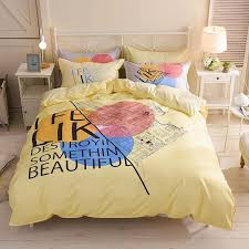 yellow double bed linens duvet cover flat bed sheet pillowcase quilt cover pink cartoon bedding set single twin queen size canada 2019 from stunning88