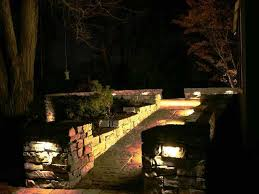 landscape lighting installed as we built a natural stone wall in southborough ma